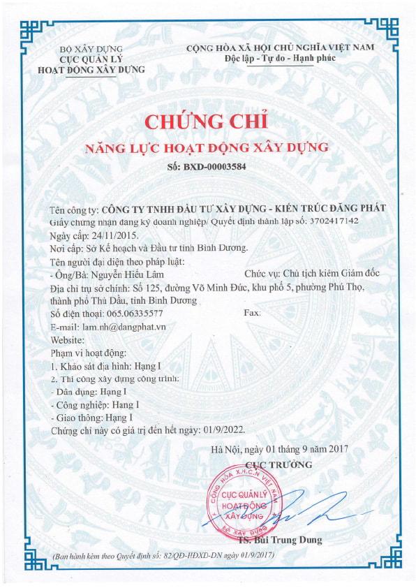 chứng chỉ năng lực xây dựng dangphat.vn